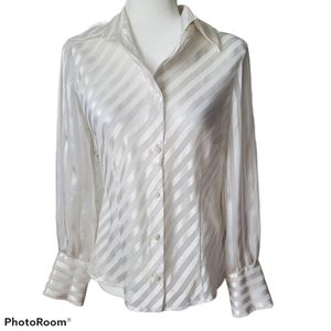 Mantles Petite White Striped Sheer Blouse